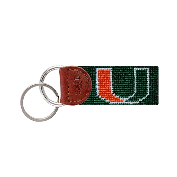 Handcrafted NCAA University of Miami Hurricanes Key Chain Wristlet  NEW