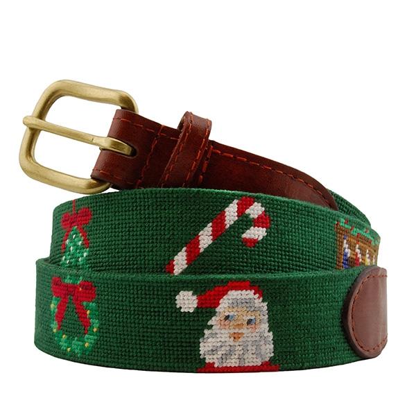 Christmas Life Needlepoint Belt   Smathers & Branson