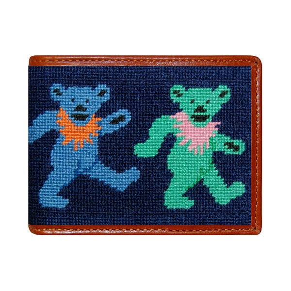 44b546430ad Dancing Bears Needlepoint Bi-Fold Wallet
