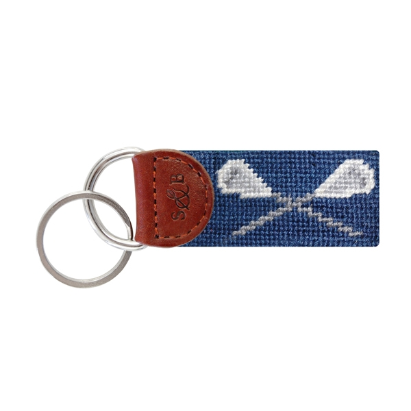 Lacrosse Key Fob//Fabric Key Chain Red on Black Background
