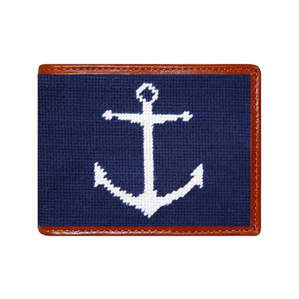 Anchor on Navy Needlepoint Cufflinks