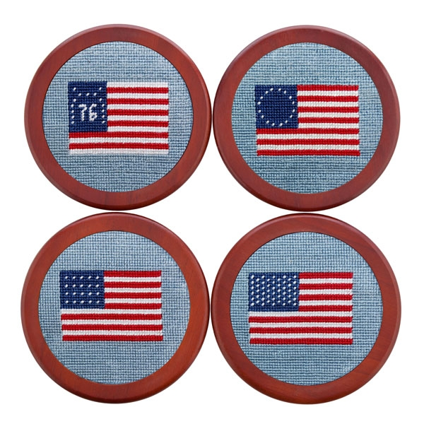 0a78279cbc0 American Flag (Antique Blue) Needlepoint Coaster Set