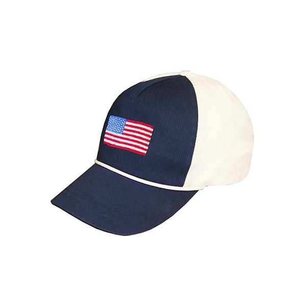 c1da6b56 American Flag Needlepoint Rope Hat (Navy-White)   Smathers & Branson